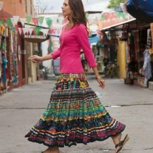 Travelsmith Colorful Cotton Lined Circle skirt 2X